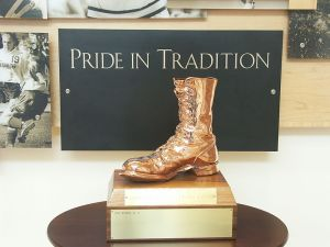 The Bronze Boot on display at the University of Wyoming in Laramie, Wyo., in 2007. Picture courtesy of Wikimedia Commons.