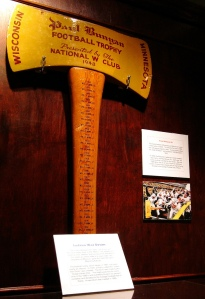 The Paul Bunyan Axe is the trophy given out to the winner of the Wisconsin-Minnesota football game. The original axe was retired after the 2003 game. The handle of the axe is six feet long and players of the winning team act like they are chopping down the goal posts after they secure the trophy. Photo courtesy of Josh May on Flickr.